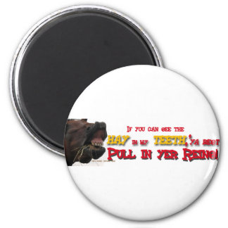 Pull in reins Funny Horse 2 Inch Round Magnet