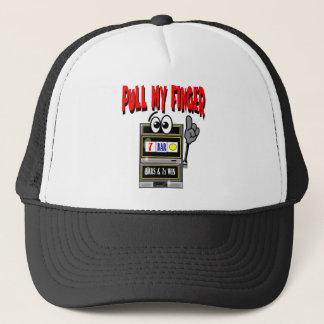Pull My Finger Slot Machine Trucker Hat