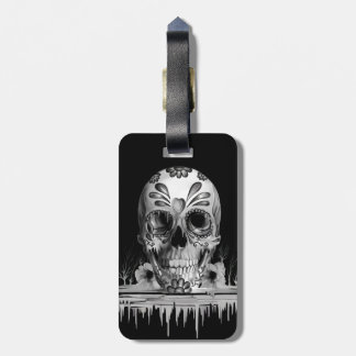 Pulled sugar, melting sugar skull luggage tag