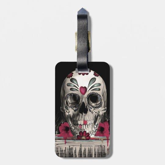 Pulled sugar, melting sugar skull luggage tag