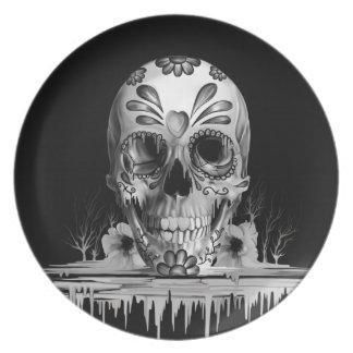 Pulled sugar, melting sugar skull plate