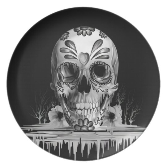 Pulled sugar, melting sugar skull plate