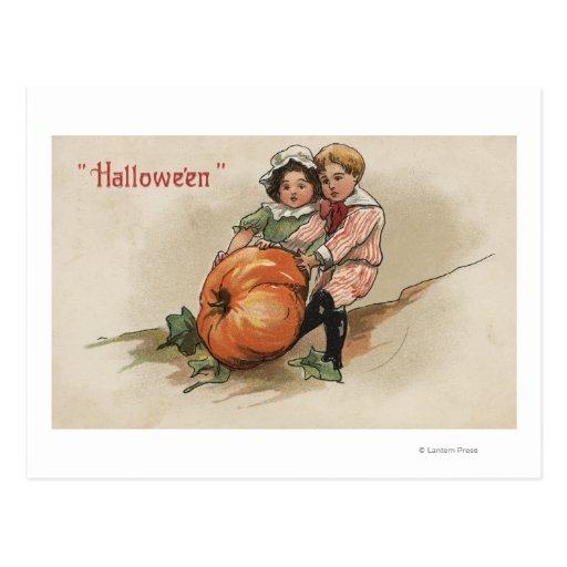 Pulling Pumpkin up Hillside Postcard