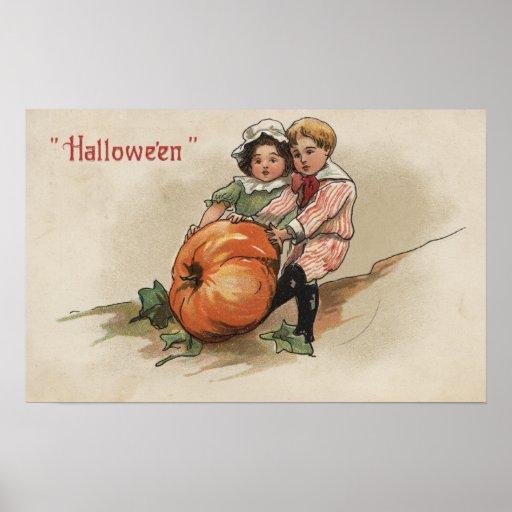 Pulling Pumpkin up Hillside Poster