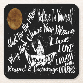 pulp board drink party coaster Inspirational Quote