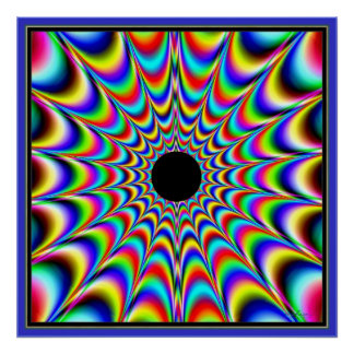 Pulsating Black Center with Beaming Colors Poster