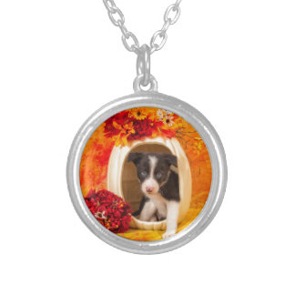 Pumkin Puppy Silver Plated Necklace