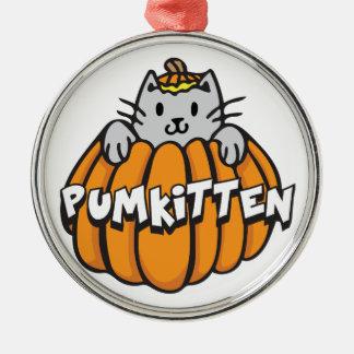 Pumkitten Silver-Colored Round Ornament
