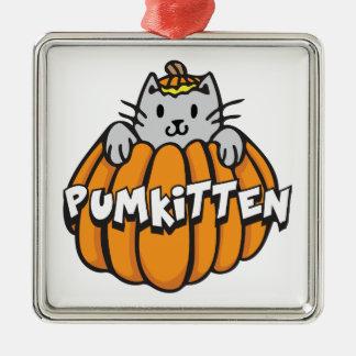 Pumkitten Silver-Colored Square Ornament