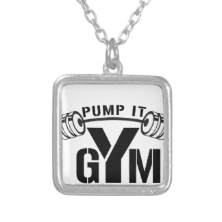 pump it gym silver plated necklace