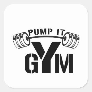 pump it gym square sticker