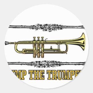 pump the trumpet art round sticker