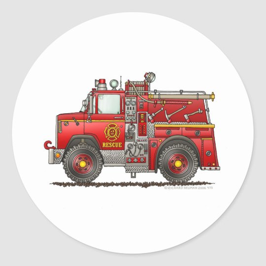 Pumper Rescue Fire Truck Firefighter Classic Round Sticker