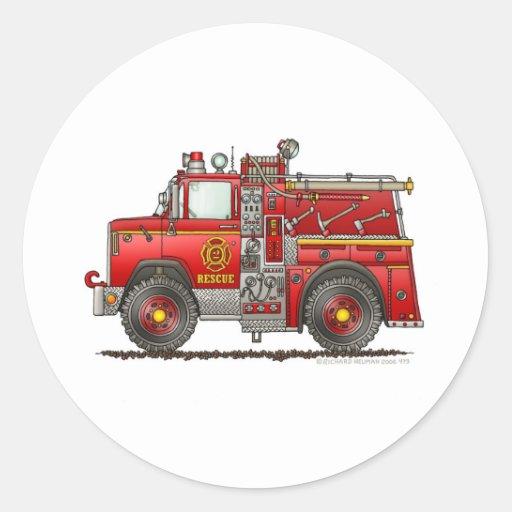 Pumper Rescue Fire Truck Firefighter Round Sticker