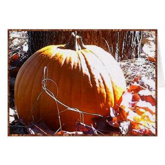 Pumpkin and Autumn Leaves Card