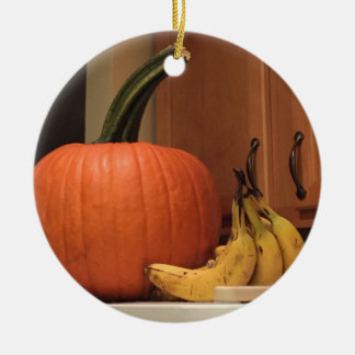Pumpkin and Bananas Ceramic Ornament