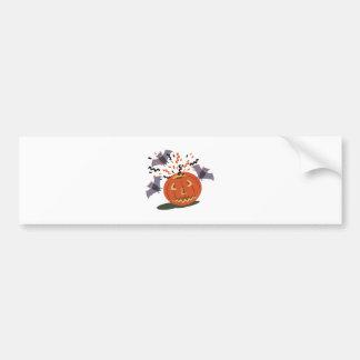 Pumpkin And Bats Bumper Sticker