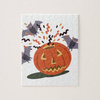 Pumpkin And Bats Jigsaw Puzzle