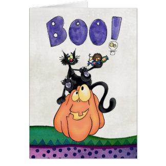 pumpkin and black cats say Boo Greeting Card