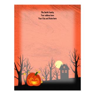Pumpkin and Haunted House Letterhead Template