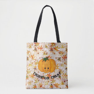 Pumpkin and leaves Trick or Treat Tote Bag
