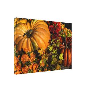 Pumpkin And Mum Arrangement Canvas Print