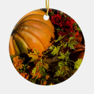 Pumpkin And Mum Arrangement Ceramic Ornament