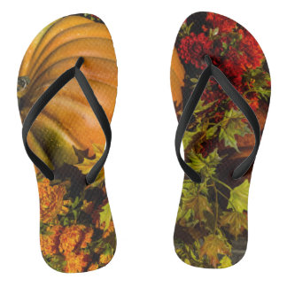 Pumpkin And Mum Arrangement Flip Flops