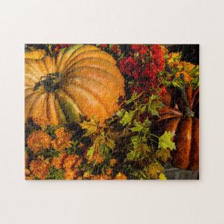 Pumpkin And Mum Arrangement Jigsaw Puzzle