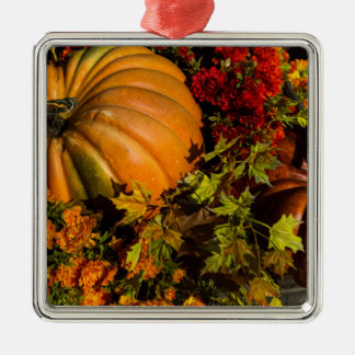 Pumpkin And Mum Arrangement Metal Ornament