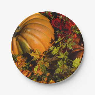 Pumpkin And Mum Arrangement Paper Plate