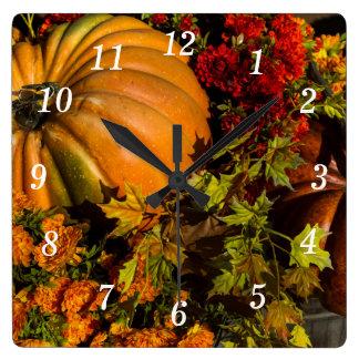 Pumpkin And Mum Arrangement Square Wall Clock