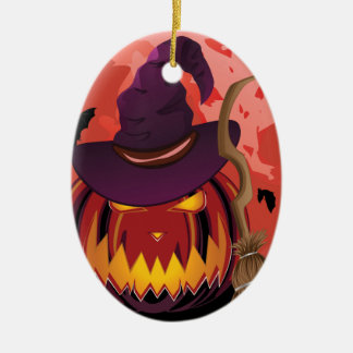 Pumpkin and Red Moon Ceramic Oval Ornament