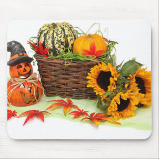 Pumpkin and Sunflowers Mouse Pad
