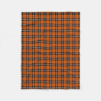 Pumpkin autumn warm orange white/black stripe fleece blanket