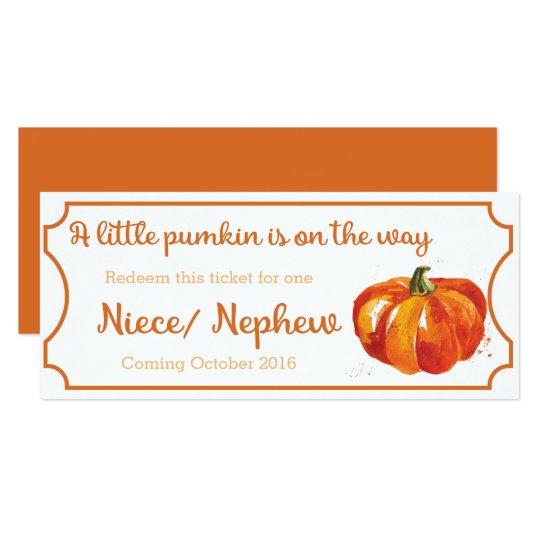 Pumpkin baby Announcement Ticket Niece / Nephew