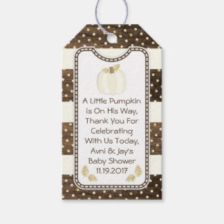 Pumpkin Baby Shower Gift Tag, Wood Ivory Gold Gift Tags