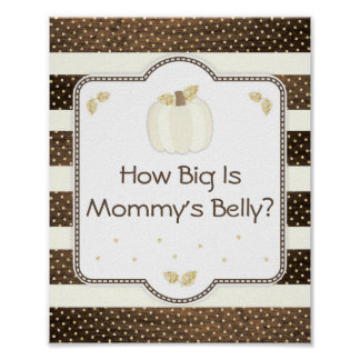Pumpkin Baby Shower Mommy's Belly Game, Wood Ivory Poster