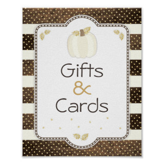Pumpkin Baby Shower Table Sign, Wood & Ivory Poster