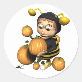 Pumpkin Bee Classic Round Sticker