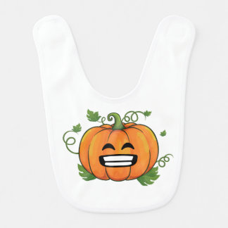 Pumpkin Big Smile Emoji Thanksgiving Halloween Shi Bib