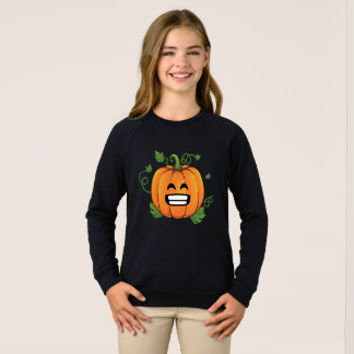 Pumpkin Big Smile Emoji Thanksgiving Halloween Sweatshirt