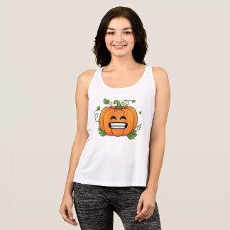 Pumpkin Big Smile Emoji Thanksgiving Halloween Tank Top