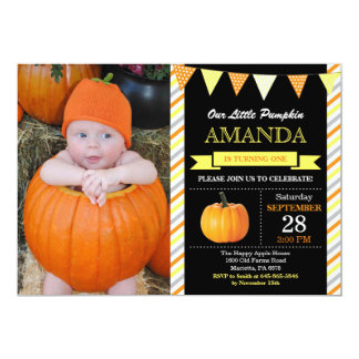 Pumpkin Birthday Invitation Orange and Yellow