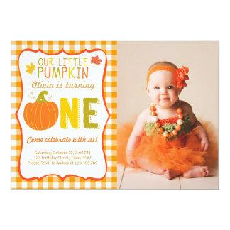 Pumpkin Birthday invitation Orange First Birthday