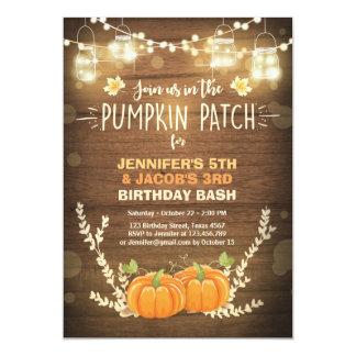 Pumpkin Birthday invitation patch Twins Fall