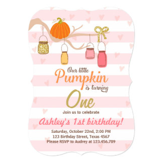 Pumpkin Birthday invitation Pink Gold First Bday