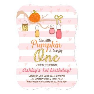 Pumpkin Birthday invitation Pink Gold First Bday