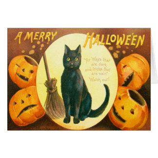 Pumpkin Black Cat Jack O Lantern Card