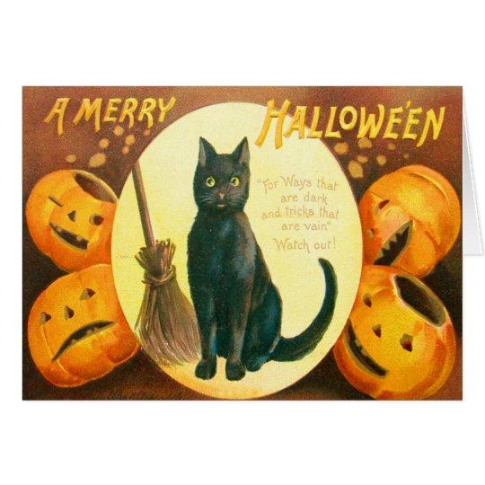 Pumpkin Black Cat Jack O Lantern Card